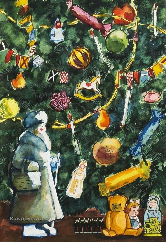 Дувидов Виктор Аронович (1932-2000) «Новогодняя елка»  иллюстрация к книге О.Высотской «Посмотри на картинку» 1957