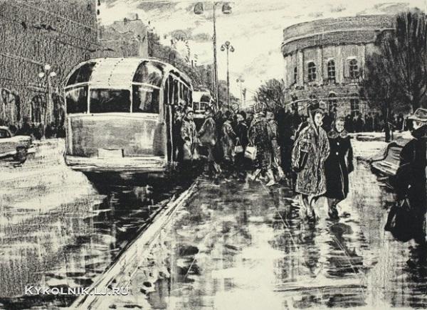 Белов Глеб Филиппович (Россия, 1937) «Городской пейзаж» 1961