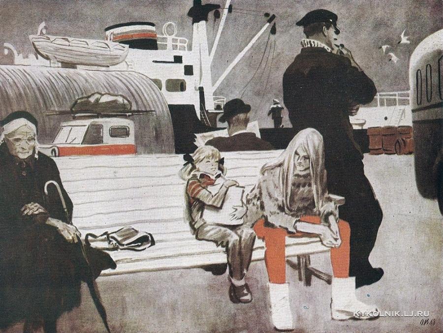 Верейский Орест Георгиевич (1915-1993) «На автобусной остановке»