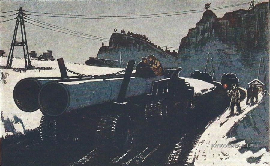 Денисов Василий Филиппович (Россия, 1931) «К вечеру» из серии «На Ангаре»