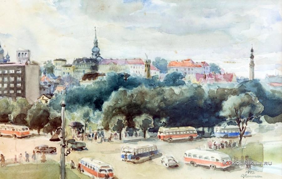 Раунам Оскар Паулович (Oskar Raunam) (1914-1992) «Площадь Виру в Таллинне» 1952