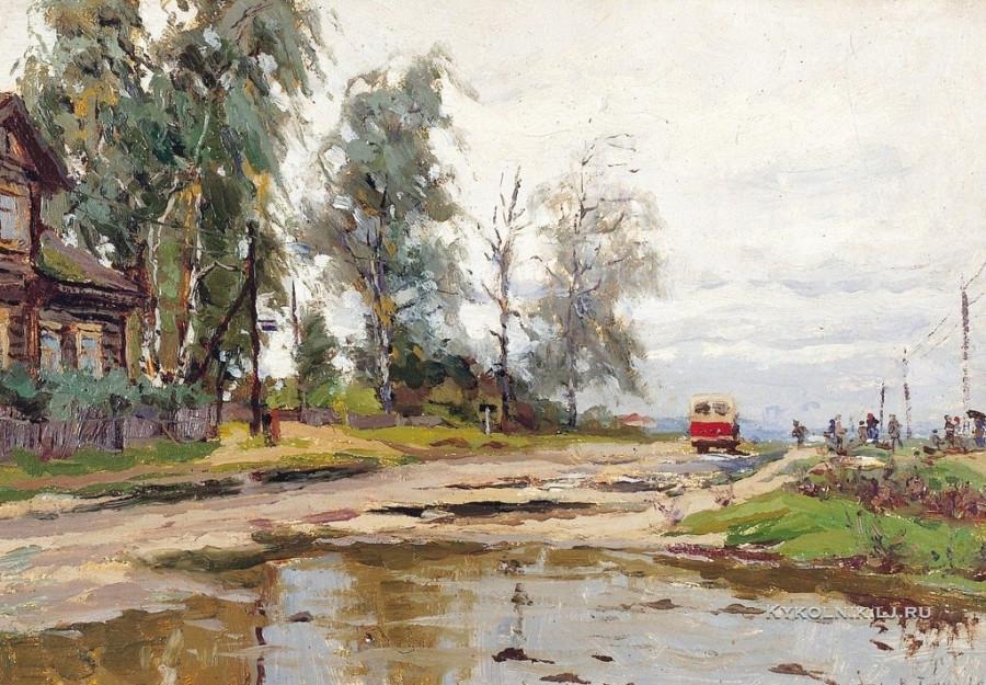 Тулин Василий Васильевич (1909-1981) «Автобусная остановка» 1960