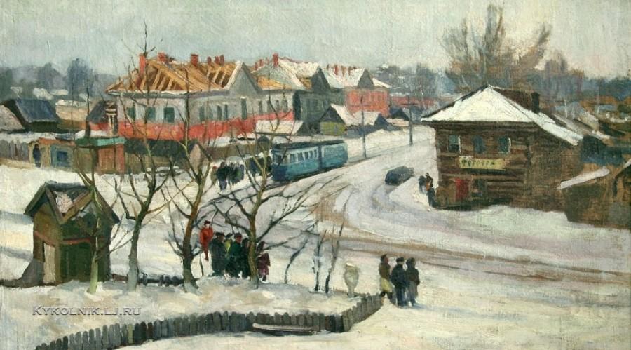 Жеребцов Михаил Федорович (1927-1997) «Октябрьская площадь» 1949