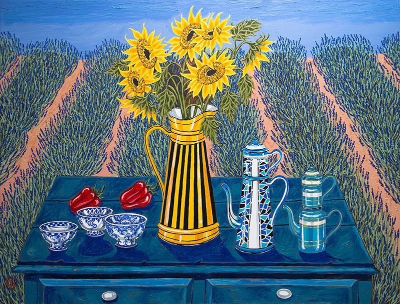 Greg Irvine (Australia, 1946) «Sunflowers & french coffee pots»