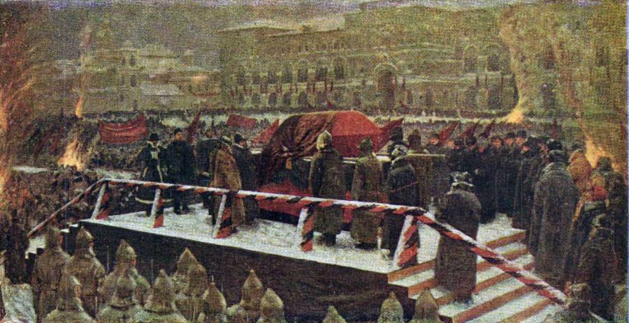 Горелов Гавриил Никитич (Россия, 1880-1966) «Похороны вождя» 1934