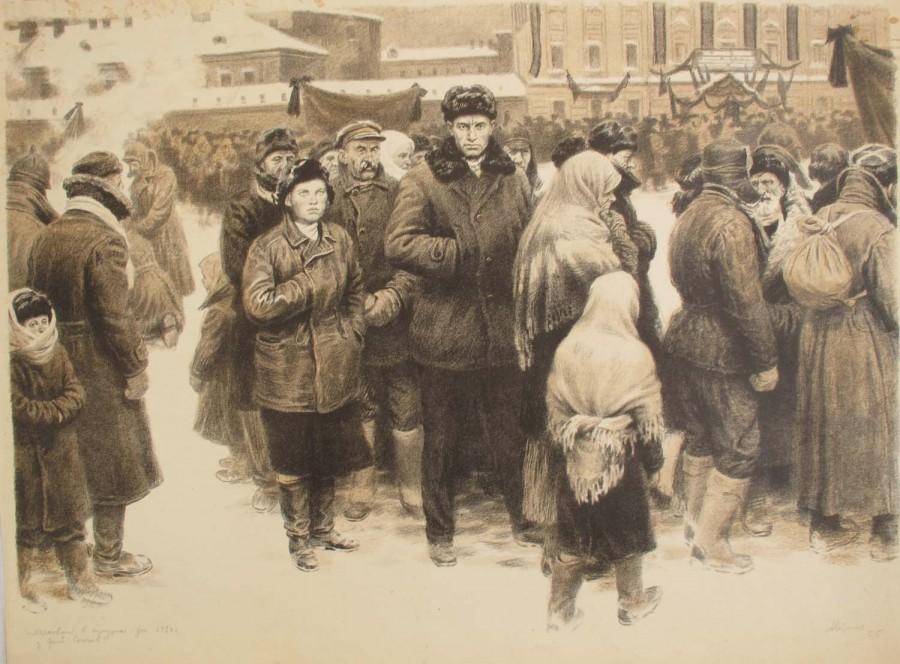 Осташев Аркадий Сергеевич (Россия,, 1929-2002) «Похороны Ленина» 1950-е