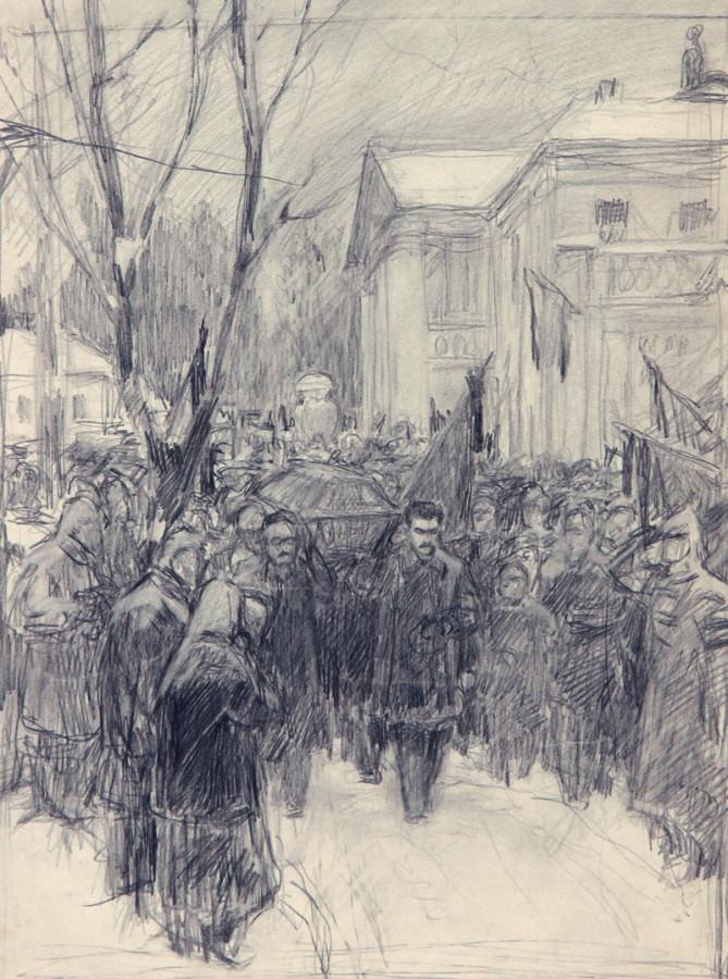 Серов Владимир Александрович (1910-1968) эскиз к картине «23 января 1924 года. Горки. Похороны В.И. Ленина».