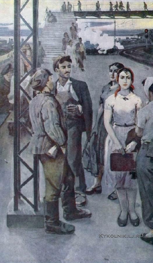 Абдуллаев Агалар Бахманович (Азербайджан, 1923) «В ожидании поезда» 1958