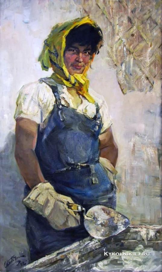 Симбирин Ефим Александрович (1923-2000)  «Строительница Камаза Хаяна Аюпова» 1972