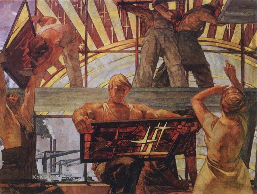 Рудзите (Рудзите-Цесюлевич) Илзе Рихардовна (Латвия, 1937) «Строители» 1975