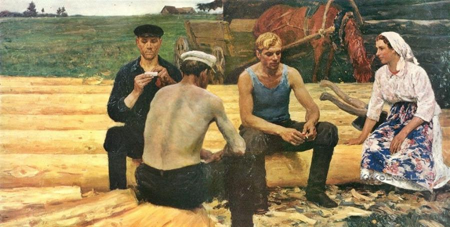Кугач Юрий Петрович (1917-2013) «Колхозные плотники» 1961