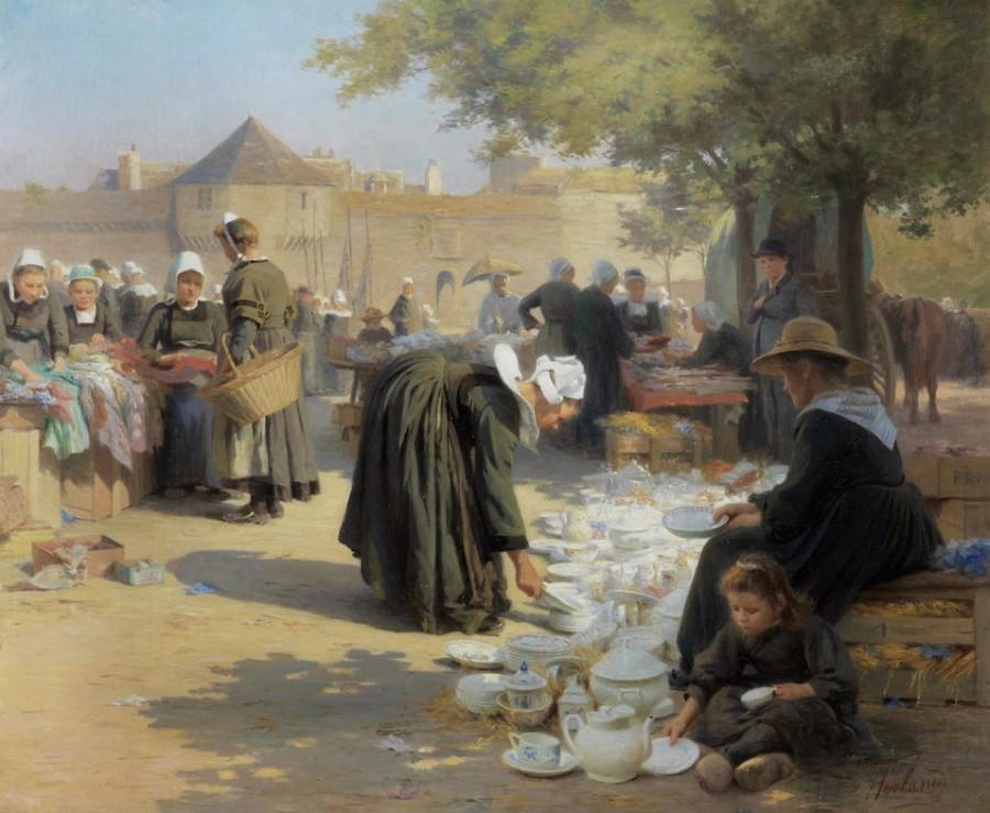 Emma Herland (French, 1856-1947) «Sur la place à Concarneau» 1907