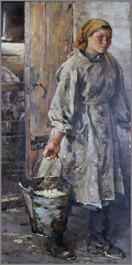Кабачек Леонид Васильевич (1924-2002) «Портрет свинарки К.Титовой» 1957