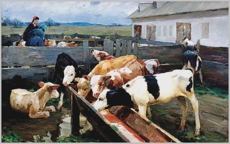 Кобылкин Александр Михайлович (1929–1993) «На ферме» 1960