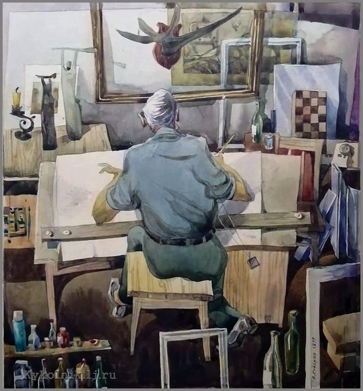 Сидоров Валентин Федорович (1931-2020) «Автопортрет в мастерской» 1977