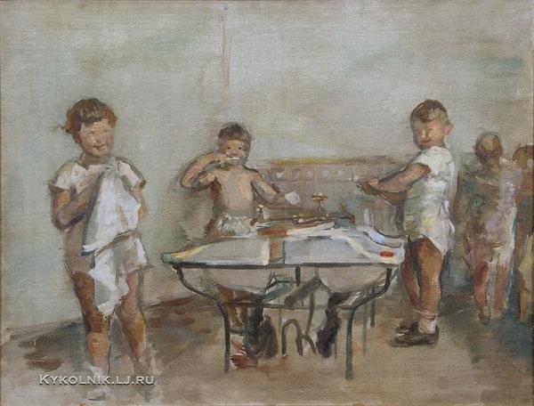 1936 Якушева Александра Ивановна (1900-1986) «Утро в детском саду»