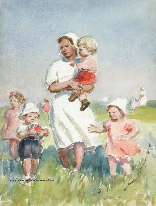 1950-е Афанасьева Елена Александровна (1900-1998) «Детсад на прогулке»