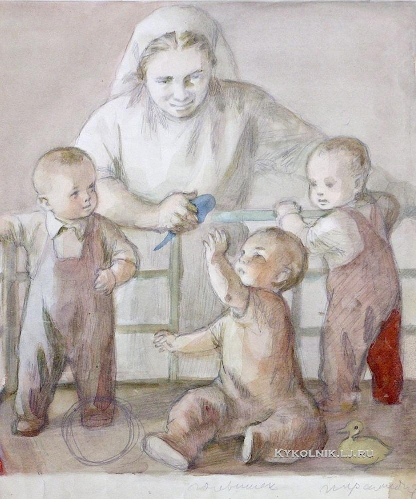 1950-е Боровская Анна Казимировна (1901-1984) «В яслях» 1950-е