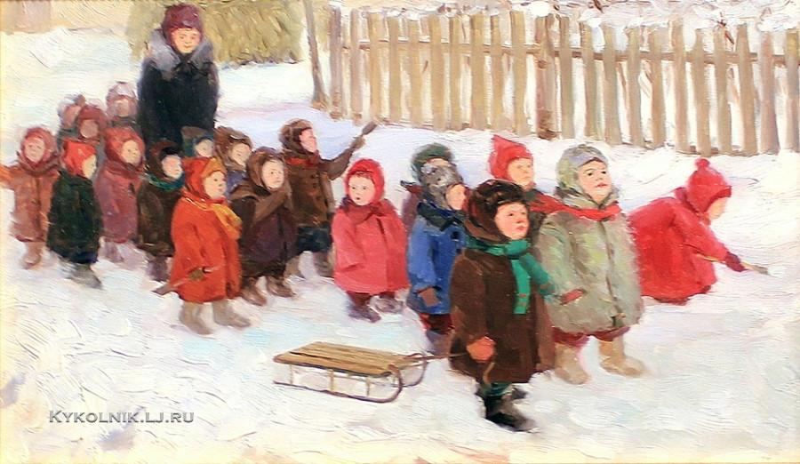 1954 Разумовская Юлия Васильевна (1896-1987) «Детский сад на прогулке»