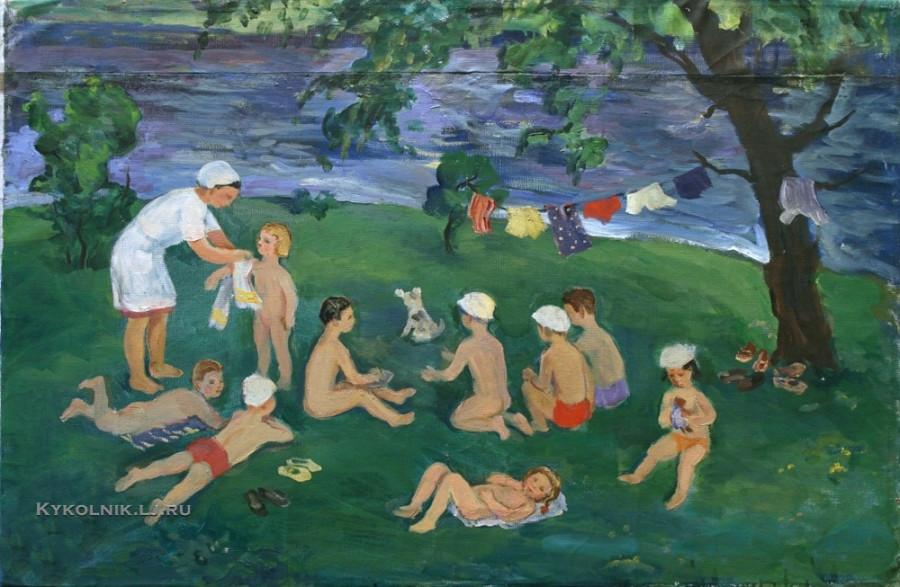 1968 Попова Ирина Николаевна (1923-1988) «Детские ясли на летней даче (Купание)»