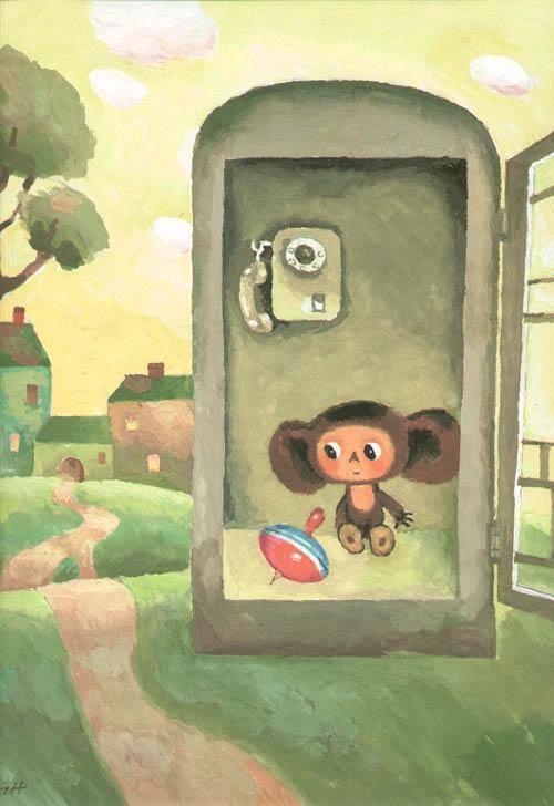 Шварцман Леонид (Израиль) Аронович (Россия, 1920) «Чебурашка в телефонной будке»