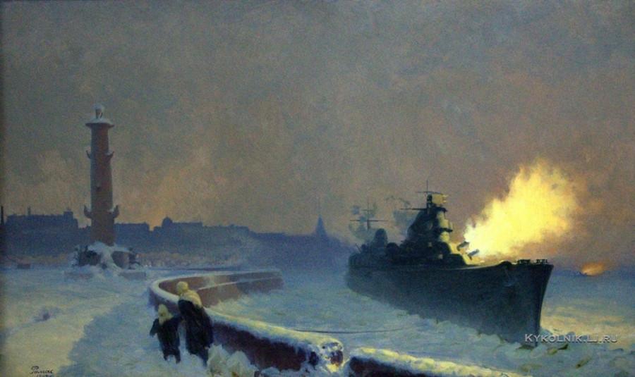 Ромас Яков Дорофеевич (1902-1969) «Зимние залпы Балтики» 1942