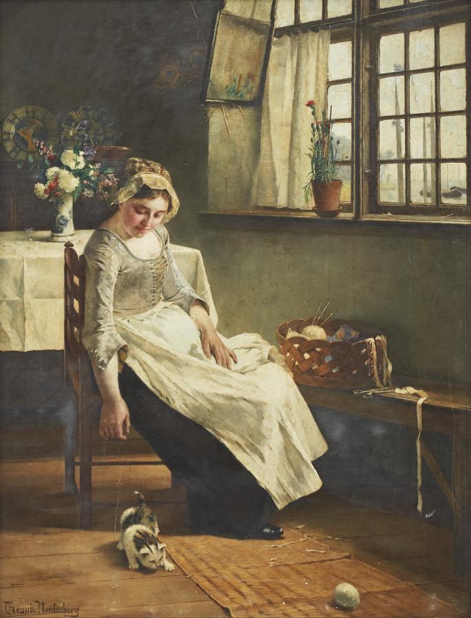 Henrik C. Nordenberg (Swedish, 1857–1928) «Kvinna leker med katt»