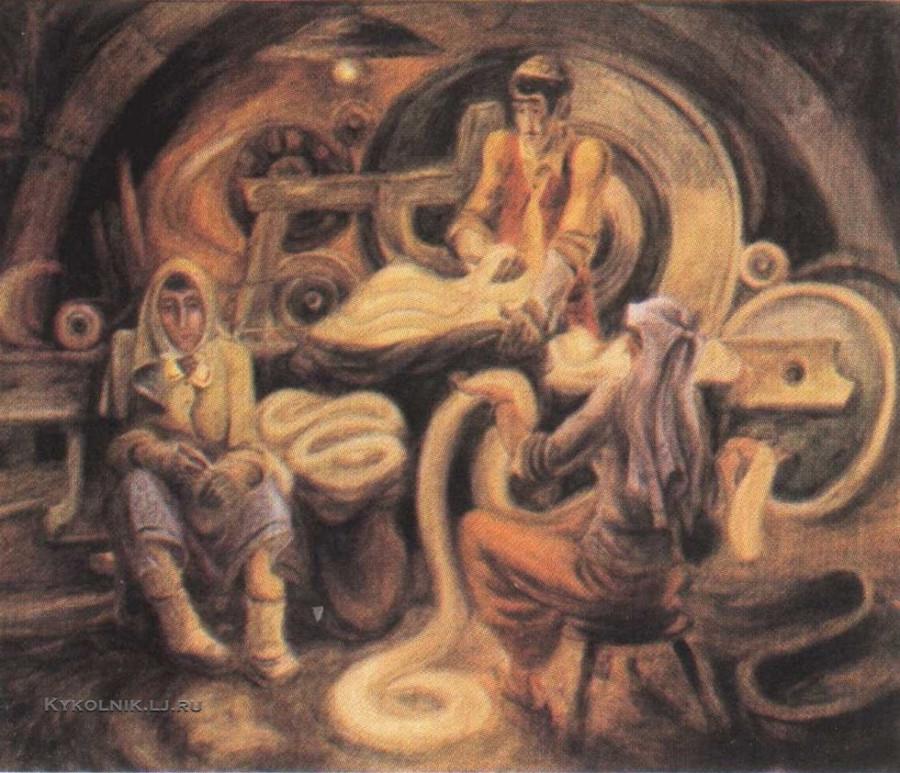 Дмитриенко Василий Дмитриевич  (Россия, 1942) «В колхозной шерстобитке, из серии «Татария» 1980-81
