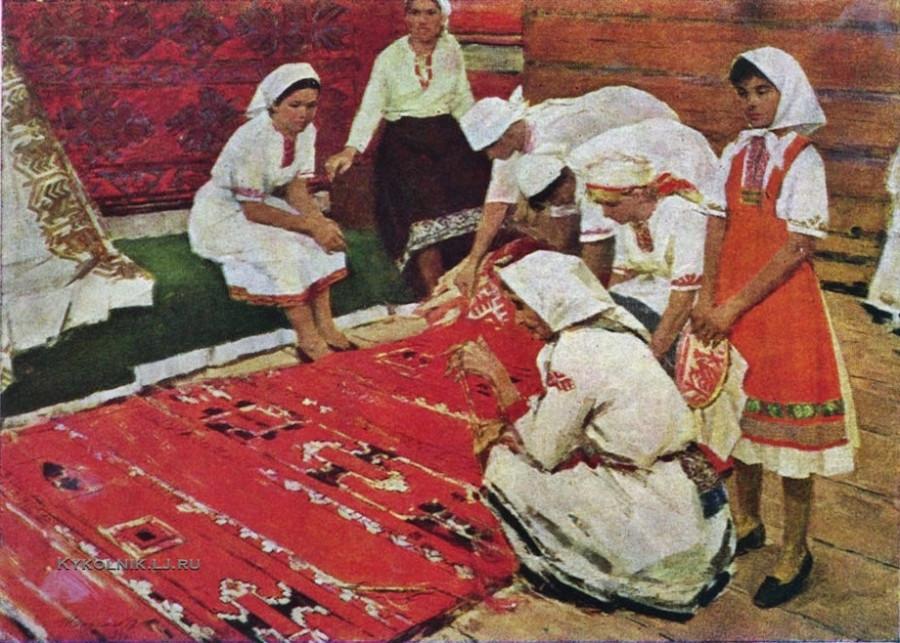Кипарисов Петр Гаврилович (1928-1987) «Ковровщицы» 1966