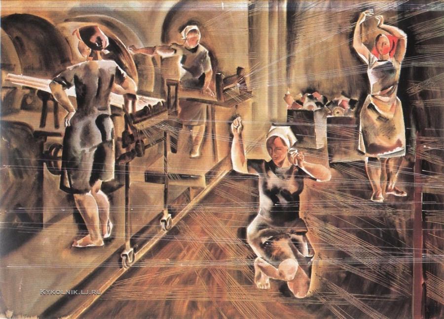Кожаев Сергей Дмитриевич (1939-1982) «Мотальный цех. Музыка арфы» из серии «Страна берёзового ситца» 1971-72