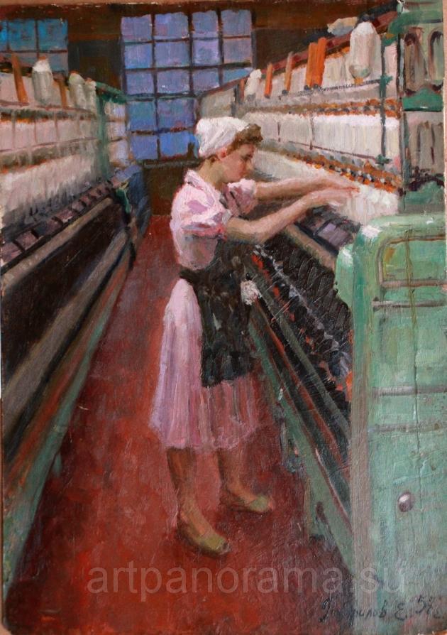 Панфилов Евгений Матвеевич (Россия, 1930) «Ткачиха-станочница» 1957