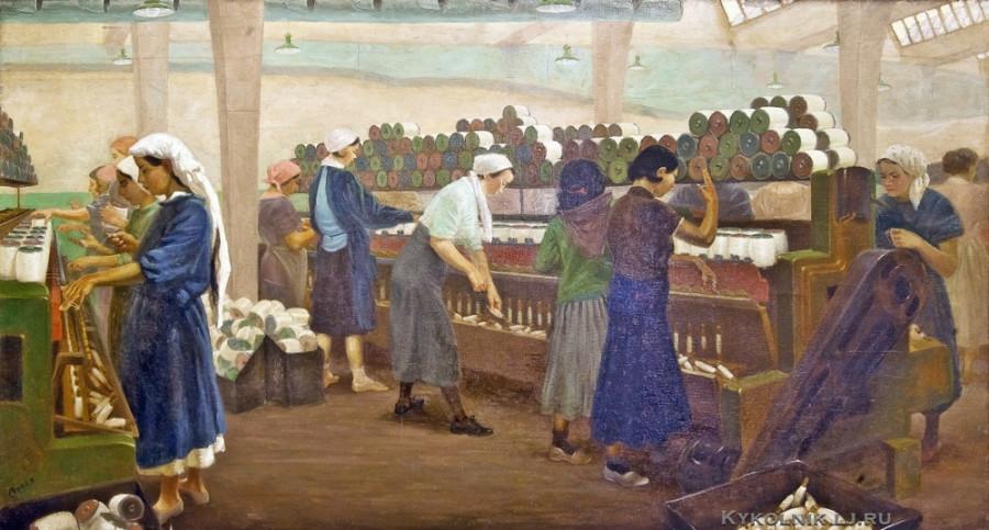 Строев Пётр Феонович (1898-1941) «Текстильный комбинат в Кировобаде» 1936
