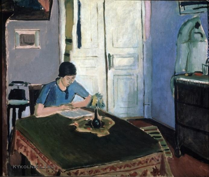 Гончаров Андрей  Дмитриевич (1903-1979) «Интерьер с женской фигурой за столом» 1934
