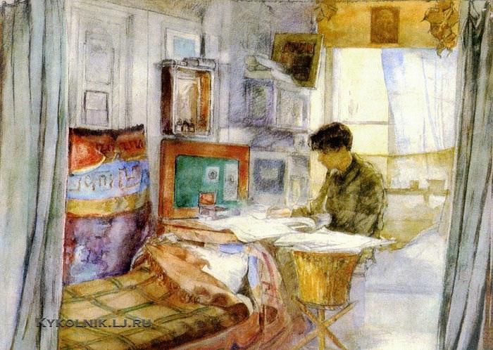 Качура-Фалилеева Екатерина Николаевна (1886-1948) «Л.М.Леонов в мастерской В.Д.Фалилеева» 1920-е