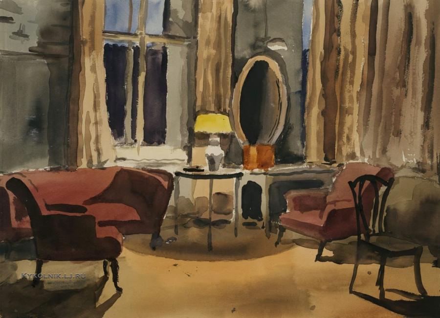 Лапшин Николай Федорович (1888-1942) «Интерьер. Комната художника» 1938