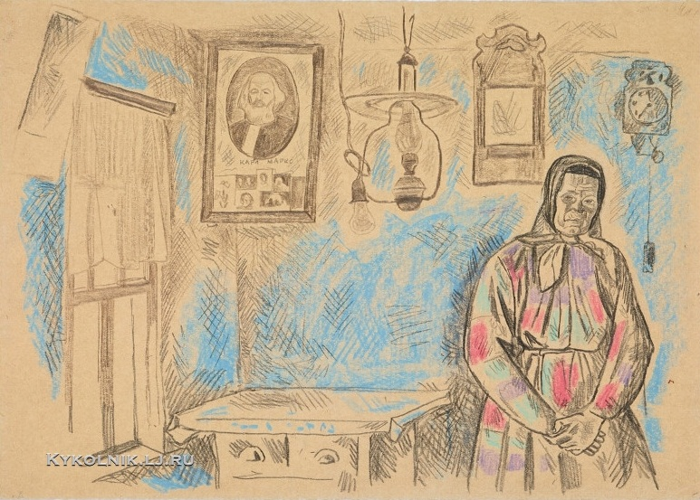 Попков Виктор Ефимович (1932–1974) «Голубой интерьер» 1967-1968