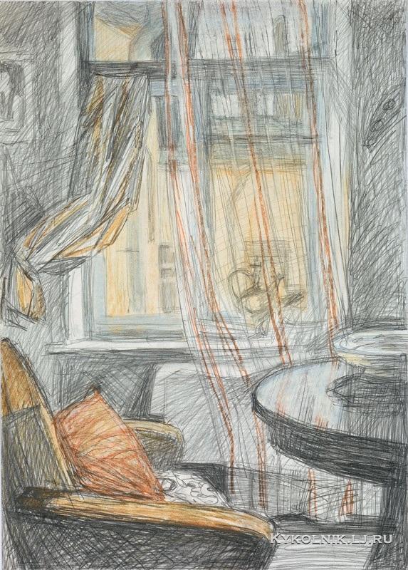 Шишмарёва Татьяна Владимировна (1905-1994) «Интерьер с прозрачными занавесками» 1975