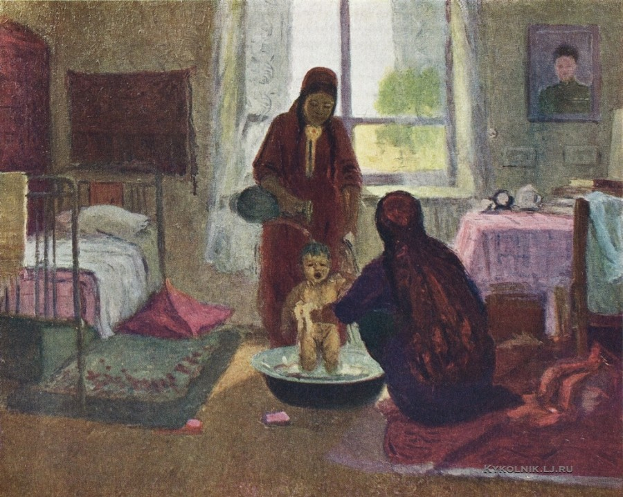 Аллабердыев Хаки (Туркмения, 1920) «Купание ребёнка» 1960-е