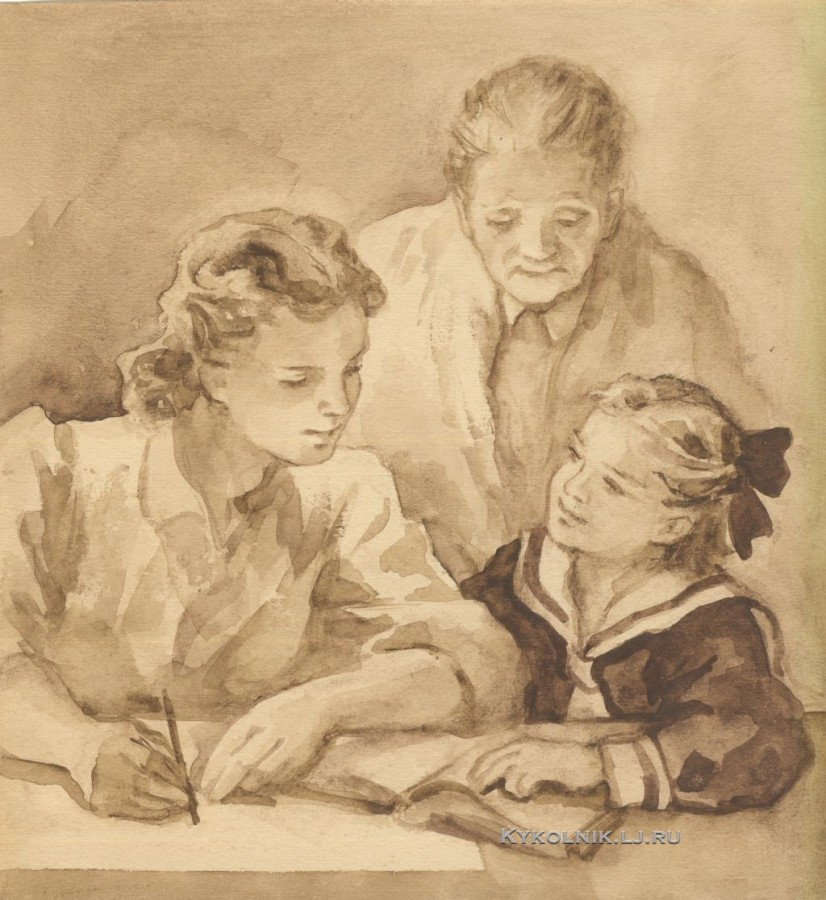 Боровская Анна Казимировна (1901-1984) иллюстрация к книге С.Георгиевской  «Галина мама»  1947