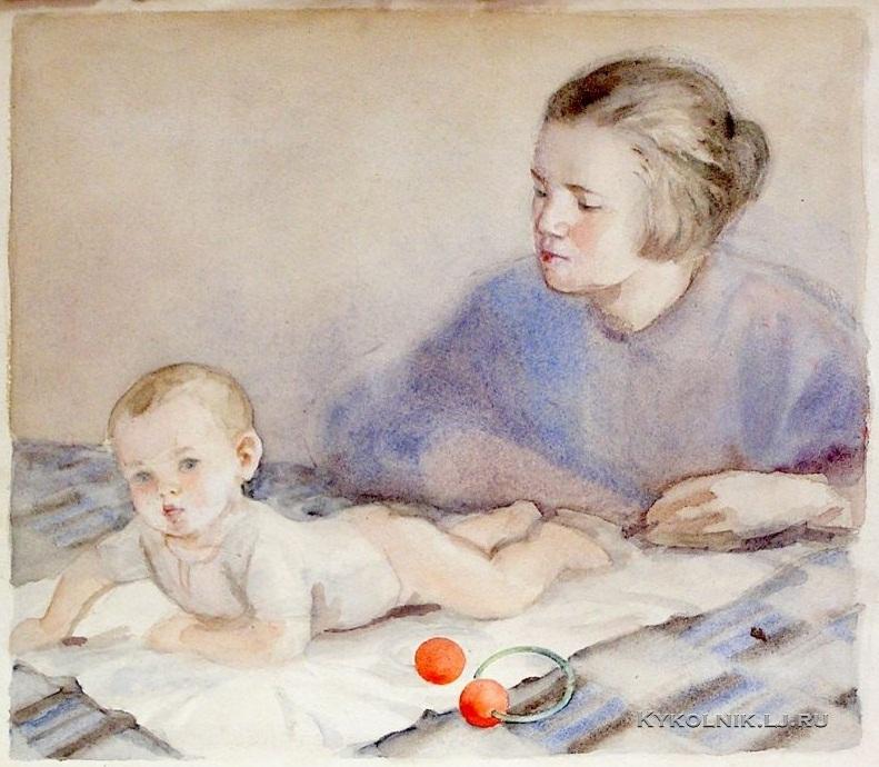 Боровская Анна Казимировна (1901-1984) рисунок к книге «Воспитание ребенка раннего возраста» 1950