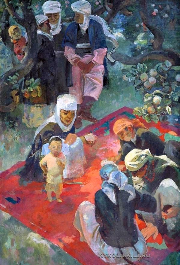 Ладвищенко Виктор Михайлович (Россия, 1930) «На отдыхе в саду» 1970-е