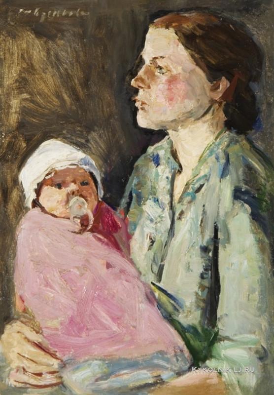 Савченкова Мария Владимировна (1917-) «Настя с первенец» 1969