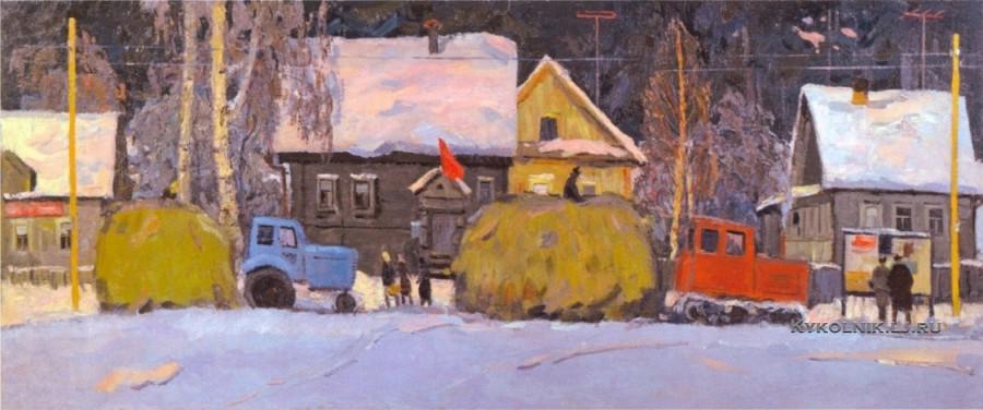 Дареев Геннадий Александрович (1939-1973) «Сельская жизнь зимой» 1967