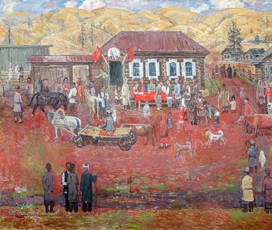 Лутфуллин Ахмат Фаткуллович (1928-2007) «В колхоз» 1979