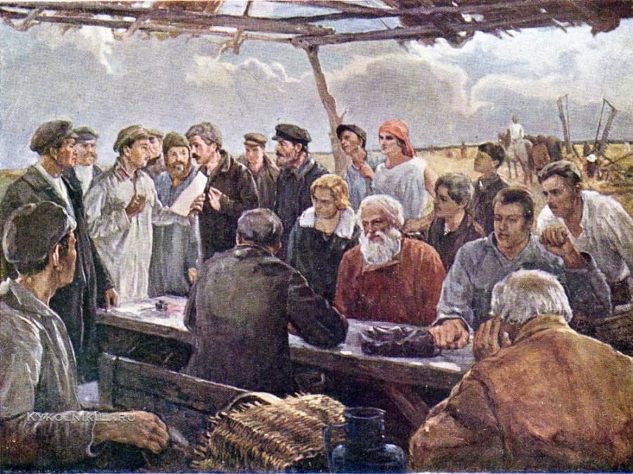 Рыбаков (?) «Демобилизованный красноармеец на собрании колхоза» 1933