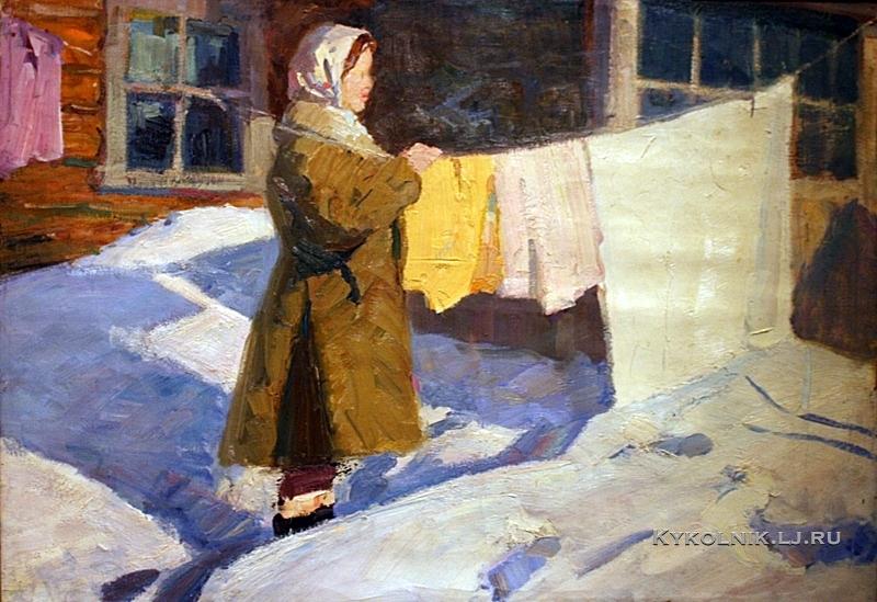 Комардин Василий Павлович (Россия, 1919) «Морозный день» 1970