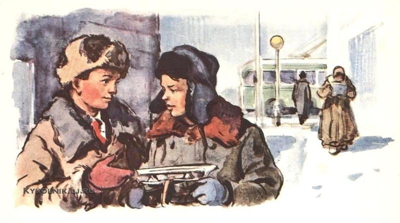 Высоцкий Владимир Петрович (1911-1983) иллюстрация к рассказу В. Осеевой «Простое дело» 1950