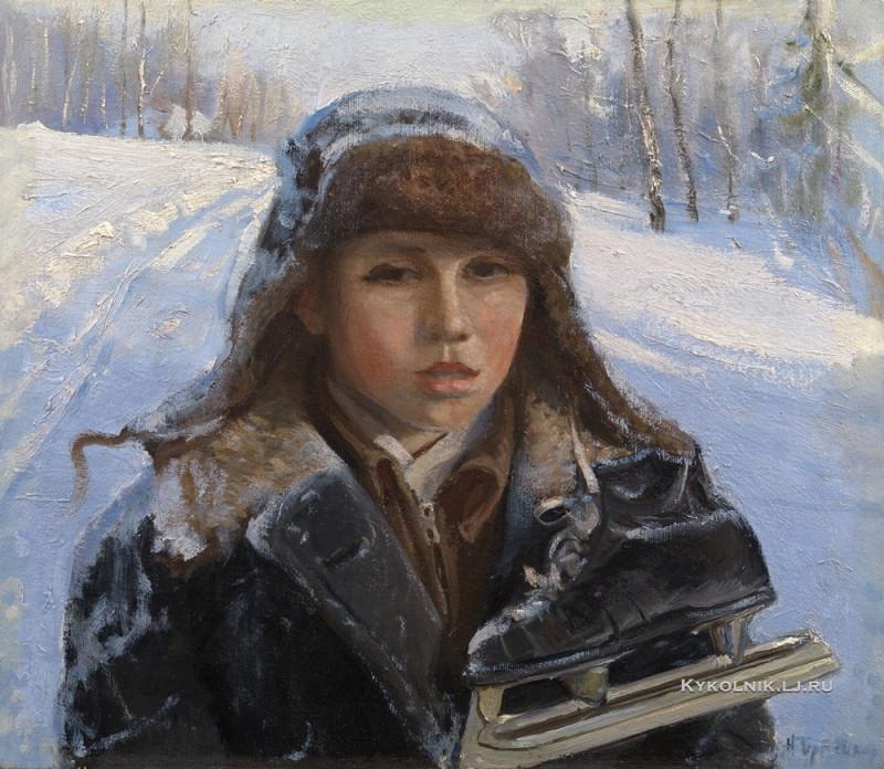 Терпсихоров Николай Борисович (1890-1960) «Мальчик с коньками» 1950-е