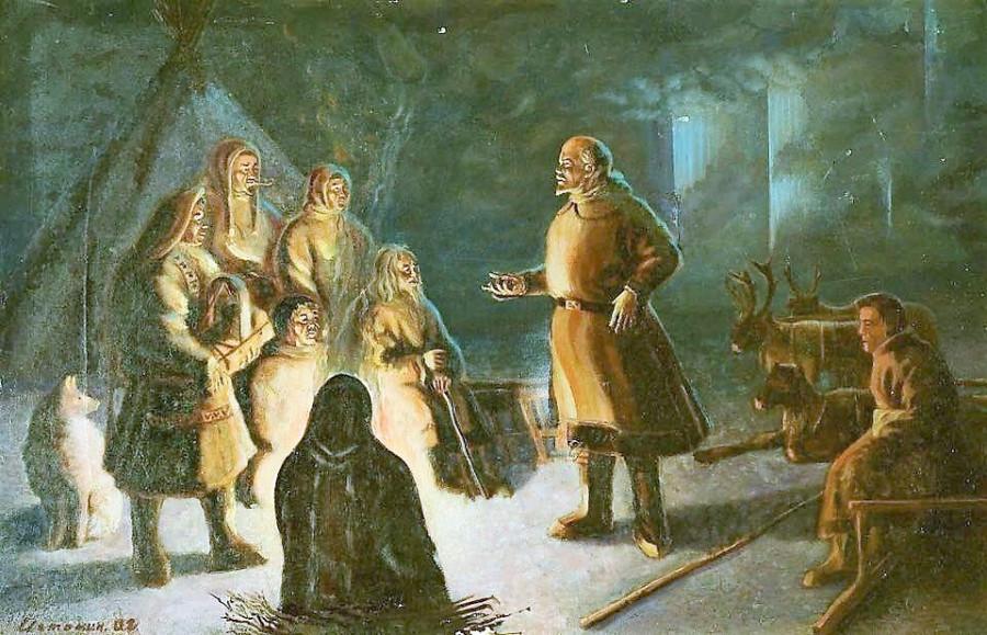 Картина Ивана Истомина изображает Ленина, выступающего перед оленеводами Ямала (1940-е гг). Смотрится, как фэнтази какое-то.