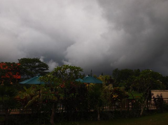 вид на наш бассейн в пасмурную погоду